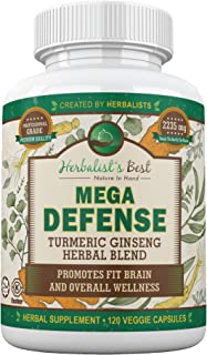 Turmeric Curcumin Ginseng Olive Leaf Bioperine 2235mg/day Mega Power Essential Extract by Herbalist's Best 95% Curcuminoids 100% Natural Immune Booster Anti Inflammatory Anti Aging Antioxidant (1)
