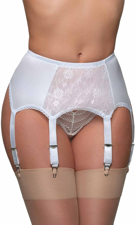 Premier Lingerie '6 Garter' Belt in White with Lace (SSL8)