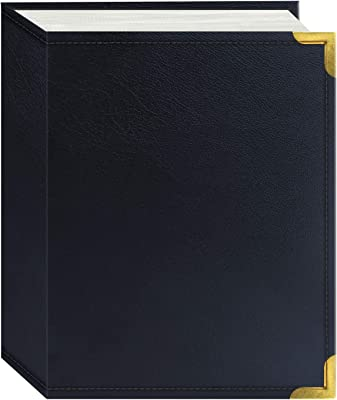 Pioneer Photo Albums 100 Pocket Navy Blue Sewn Leatherette Cover with Brass Corner Accents Photo Album, 4 by 6-Inch