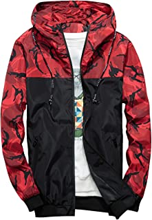 Men's Windbreaker Jacket, Floral Bomber Jacket Lightweight Zip-up Hooded Coat