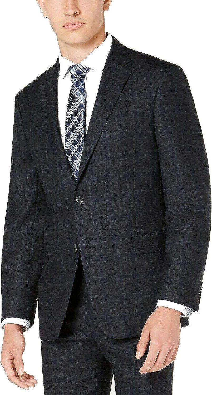 Tommy Hilfiger Mens Gray Plaid Classic Fit Blazer 44 Short