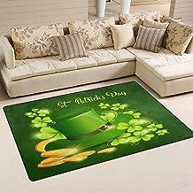 Doormat Happy Patricks Day Shamrock 31x20 inch Welcome Holiday Floormat, Hat Coin Green Outdoor Indoor Non Slip Bath Kitch...