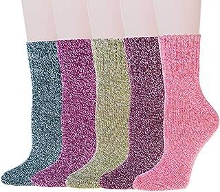 Mujer Calcetines, 5 Pares Calcetines de Lana Cálidos de Confort Casual de Mujer de Invierno Vintage Calcetines de Lana EU 35~42