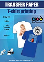"PPD Inkjet Iron-On White and Light Color T Shirt Transfers Paper LTR 8.5x11"" pack of 10 Sheets (PPD001-10)"