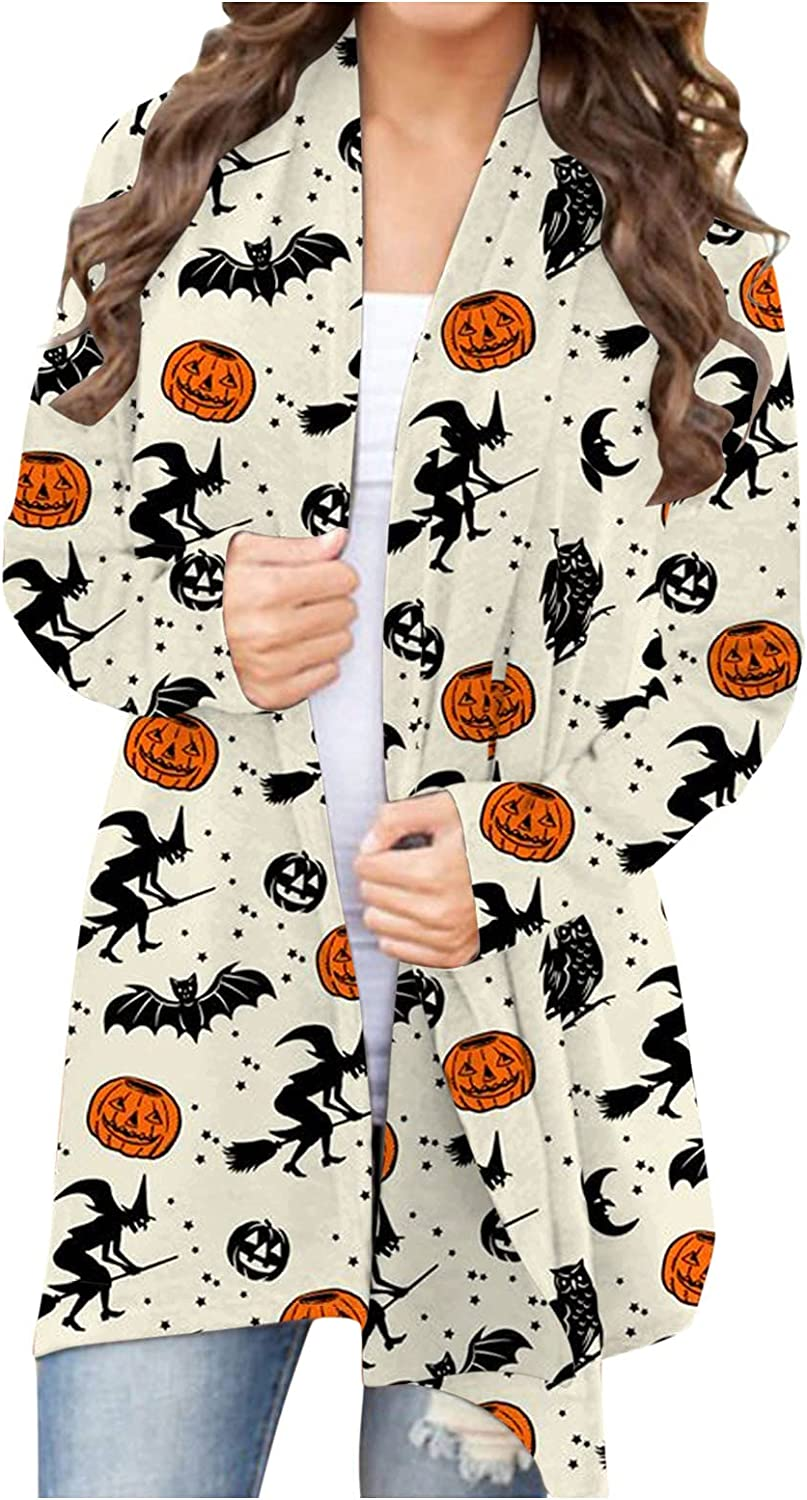 UOCUFY Womens Halloween Cardigan, Womens Tops Funny Cute Pumpkin Cat Ghost Graphic Long Sleeve Open Front Blouse Coat