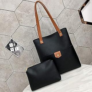 YKDY Shoulder Bag 2 in 1 Leisure Fashion PU Leather Shoulder Bag Handbag(Black) (Color : Black)