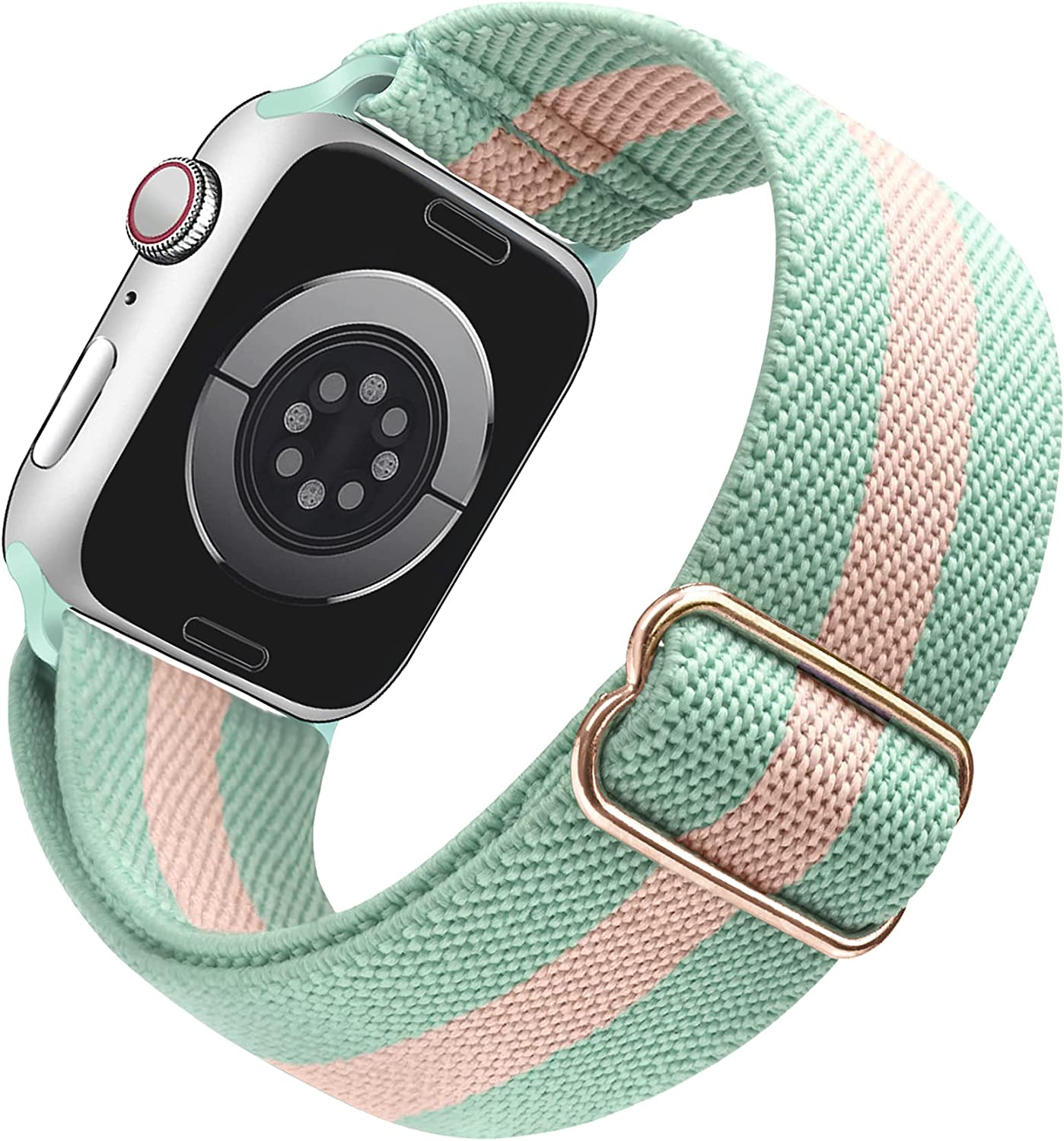 Arae Stretchy Watch Band Compatible for Apple Watch Band 41mm 40mm 38mm Comfortable Adjustable Sport Band for iWatch Series 7 6 5 4 SE 3 2 1 Women Men - Green