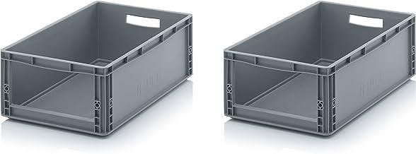 2x Auer Euro Sichtlagerkasten 60 x 40 x 22 cm inkl. gratis Zollstock * Eurobehälter mit Fenster, 2er Set