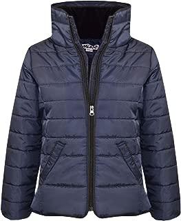 Girls Jacket Kids Navy Padded Puffer Bubble Faux Fur Collar Warm Coats 5-13 Yrs