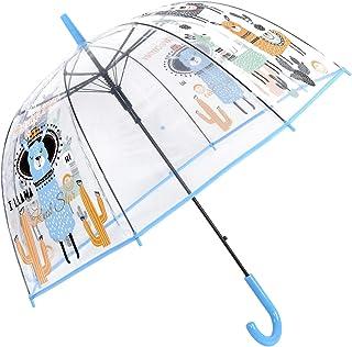 HAOCOO Alpaca Clear Umbrella, Bubble Transparent Fashion Dome Auto Open Umbrella Windproof for Outdoor Weddings, Blue (Blue) - Alpaca Clear Umbrella Blue