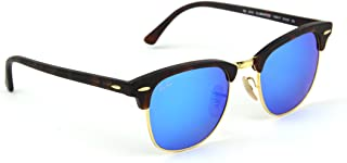 RB3016 Clubmaster Flash Series Unisex Sunglasses (Sand Havana Frame / Blue Flash Lens 114517, 51)