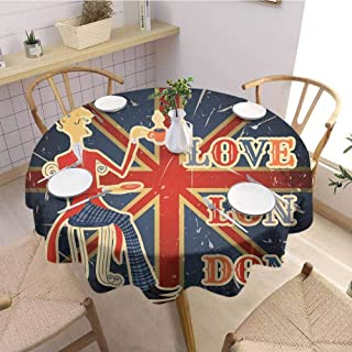 DILITECK British Covering Round Tablecloth Love London Quote with English Man on UK Flag Backdrop National Design Outdoor Picnic D36 Gold Dark Blue Red