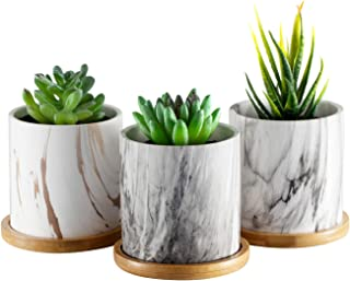 Dsben 3.5 Inch Succulent Plant Pots, Small Marble Ceramic Flower Planter Indoor with Bamboo Tray for Cactus Herb Home, Set of 3