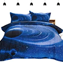 PomCo Galaxy Comforter Full (79x90 Inch), 3Pcs(1 Galaxy Comforter & 2 Pillowcases) 3D Space Outer Sky Microfiber Bedding Set, Blue Universe Galaxy Comforter Set for Boy Girl Teen Kid