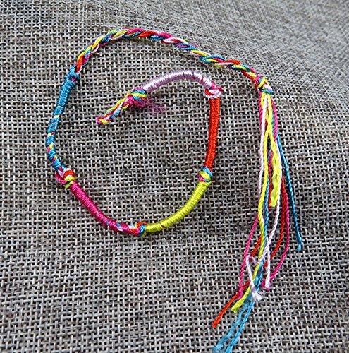 KOTiger 20 pcs Hippie Style coloré amitié Fil tressé Bracelet Bracelet de Cheville (Coloré)