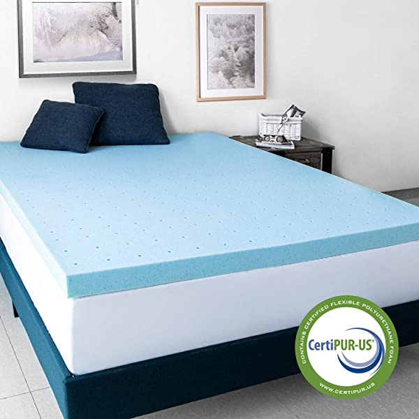 AuAg 3 Inch Gel Infused Memory Foam Mattress Topper Softer And Breathable Cooling Mattress 5 Year Warranty Queen Size