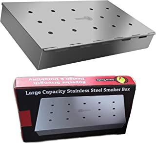 Smoker Box Maximum Wood Chip Capacity - 25% Thicker Stainless Steel Won't WARP - Charcoal & Gas Grill BBQ Meat Smoking Hin...