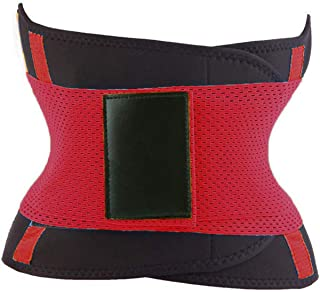 Fortune-God Women Power Belt-Slimming Body Shaper Waist Trainer Trimmer Fitness Corset Tummy Control Shapewear,Red,M