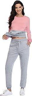 comprar comparacion Irevial Chaqueta Deportiva Mujer y Pantalones Conjunto de Chándal Sudadera Manga Larga + Pantalón de Sudor Dos Piezas Casu...