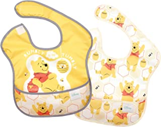 Bumkins Disney Winnie The Pooh SuperBib, Baby Bib, Waterproof, Washable, Stain and Odor Resistant, 6-24 Months, 2-Pack - Hunny
