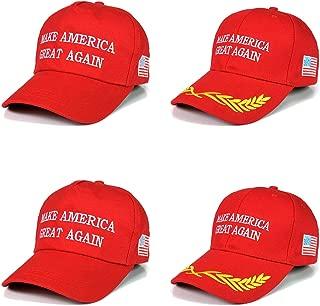 4 Pack Make America Great Again Hat, Donald Trump USA MAGA Cap Adjustable Baseball Hat for Men Women Red