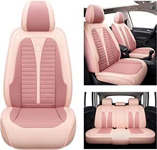 Isen-CoverAuto Leather Car Seat Covers Automotive Vehicle Cushion Cover for SUV Pick-up Truck Universal Fit Set for Auto Interior Accessories Full Set (Pink)