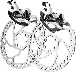 RUJOI Bike Disc Brake Kit, Aluminum Front and Rear Caliper, 160mm Rotor, Mechanic Tool-Free Pad Adjuster for Road Bike, Mountain Bike (2 Sets)