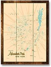 Adirondacks Vintage-Style Map Rustic Wood Art Print by Lakebound (9