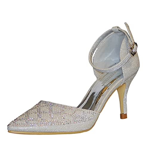 0e0298873fe8 Rock on Styles New Ladies Sparkly Diamante Black Silver Ankle Strap Party  Prom Mid Low Heel