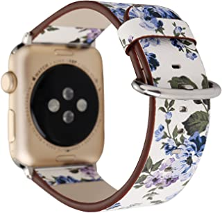 YOSWAN Bracelet for Apple Watch, National Black White Floral Printed Leather Watch Band 38mm 42mm Strap for Apple Watch Flower Design Wrist Watch Bracelet (White+ Blue Flower, 38mm)
