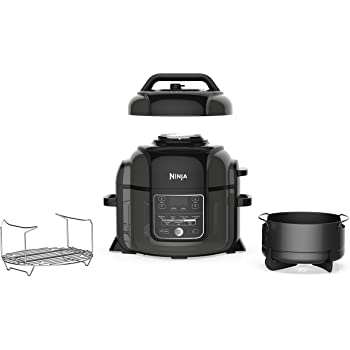 Ninja OP301 Foodi 9-in-1 Pressure, Slow Cooker, Air Fryer and More, with 6.5 Quart Capacity and 45 Recipe Book, and a High Gloss Finish (Renewed)