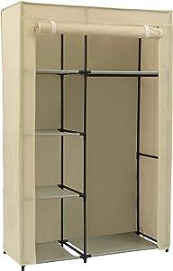 Home-Like Textile Non-tissé Armoire de Toile Meuble de Chambre Armoire de Rangement Avec Barre de Pendaison 105x45x158cm (Beige)