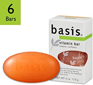 Basis Vitamin Bar Soap - Body Wash Bar Cleans and Softens with Vitamin C, E, and B5 - 4 oz. Bar (Pack of 6)