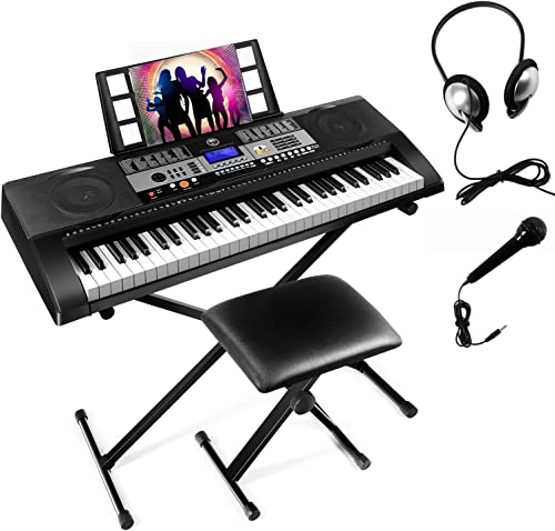 discount Mustar 61 Key Piano sale Keyboard, Electronic Touch Sensitive Keyboards Piano, Headphones, Microphone, Piano Stand outlet online sale and Stool,Full Size Keys/LCD Screen outlet online sale