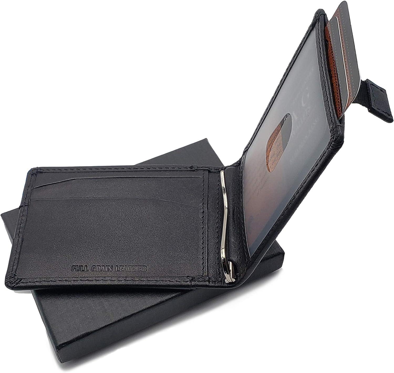 AG Wallets Mens Leather Bifold Black Wallet, RFID, Slim Design, Minimalist Money Clip, Full Grain Leather.