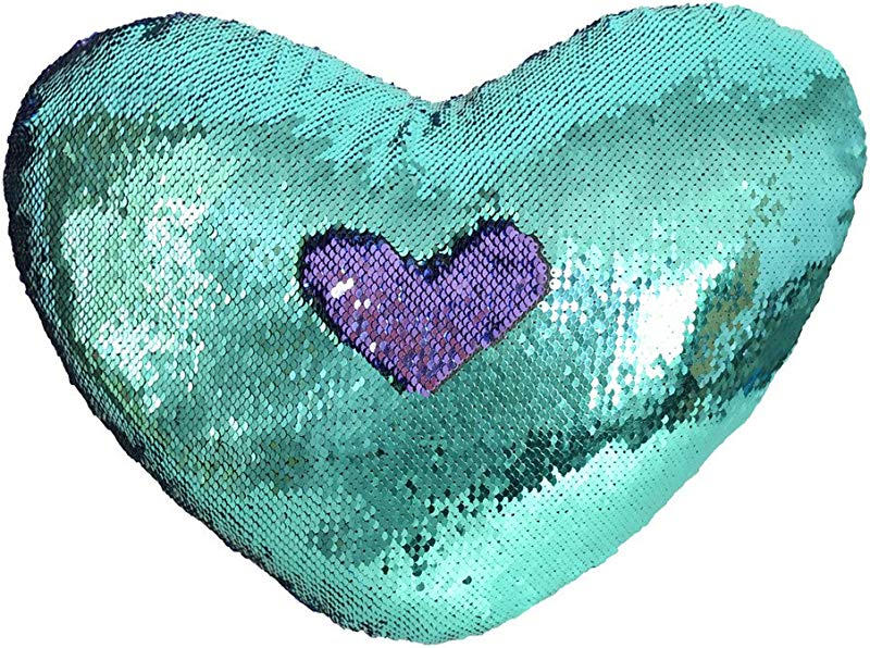 TRLYC Mermaid Pillow With Pillow Insert By Two Color Light Purple And Turquoise Decorative Heart Shape Reversible Sequin Pillow 13X15