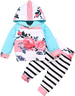 Sponsored Ad - SUNICOL Baby Girl Long Sleeve Hoodies Floral Pants Flower Headband Infant Outfit
