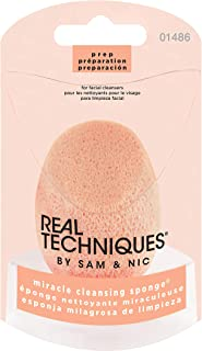 Real Techniques Cruelty Free Miracle Cleansing Sponge, Perfect Pre-Makeup Cleanser for Flawless Makeup Application, Gently Exfoliating away Dirt & Oil, Latex Free (Packaging May Vary)