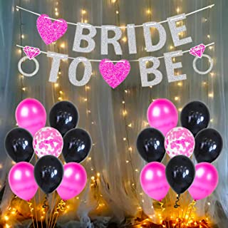 Party Propz Bride To Be Decoration Set Combo - 26Pcs With Bride To Be Banner, Metallic Balloons, Confetti Balloon and Led ...