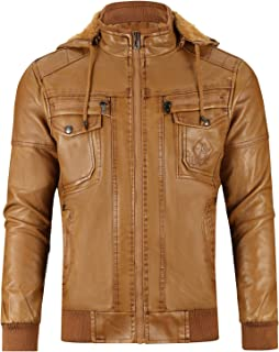 Men's Faux Leather Jacket with Removable Hood Winter Vintage Leather Coat