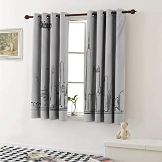 shenglv Chicago Skyline Decorative Curtains for Living Room Hand Drawn City Silhouette Downtown Free Hand Sketch of Panoramic Landmark Curtains Kids Room W72 x L72 Inch Black White