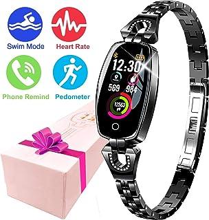 Fitness Tracker Watch, Waterproof HR Activity Tracker, Women Jewelry Smart Wristband Sport Watch with 8 Swim Mode Health Sleep Monitor Calorie Kids Pedometer Valentine Birthday Gift Android iOS