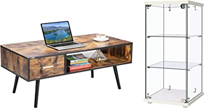 VIVOHOME Wooden Mid-Century Modern Coffee Table with Storage Shelf & Drawer with 3 Layers 16''W x 16''D x 34''H Glass Countertop Display Showcase