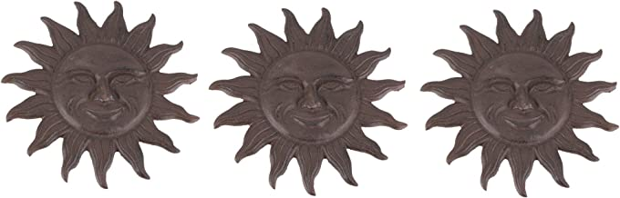 Things2Die4 Set of 3 Cast Iron Sun Face Stepping Stones Lawn Garden Decorative Yard Path Art