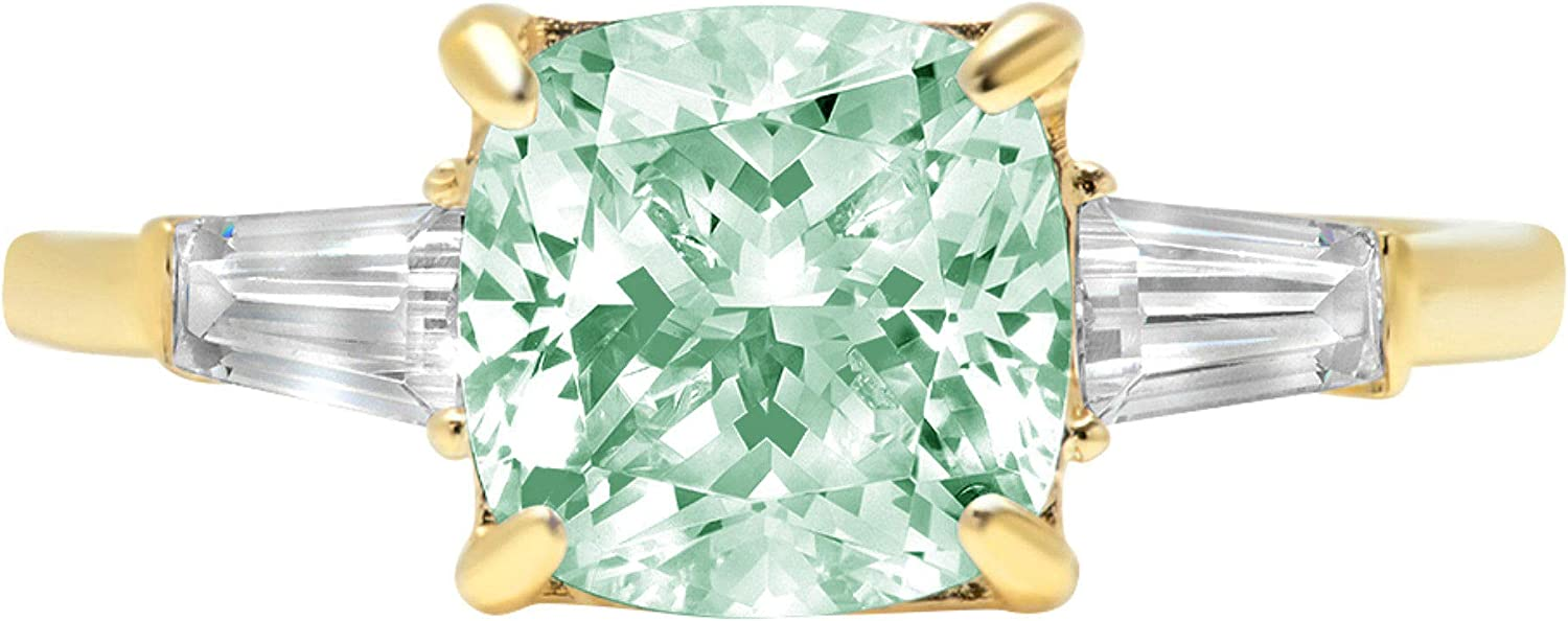 3.47ct Cushion Baguette cut 3 stone Solitaire with Accent Light Sea Green Simulated Diamond CZ VVS1 Designer Modern Statement Ring Solid 14k Yellow Gold Clara Pucci