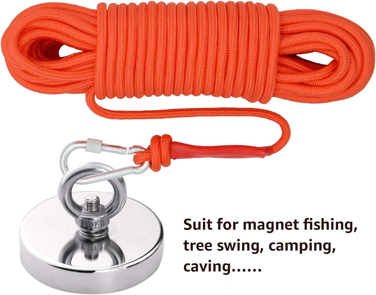 98ft 5//16in Magnet Fishing Rope 8mm FerDIM Static Climbing Rope 65ft High Strength Cord Safety Rope 32ft