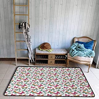 Butterfly Area Rug Artistic Illustration of Butterflies with Colorful Abstract Wings and Green Dots Anti-Static W47 x L59 Multicolor
