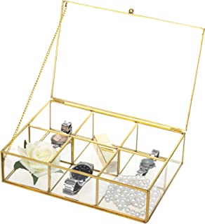Feyarl Gold Clear Glass Box Metal Jewelry Trinket Shadow Box Counter Top Collection Display Case Holder 6 Compartment Decorative Box Tea Bags Box Makeup Organizer with Lid