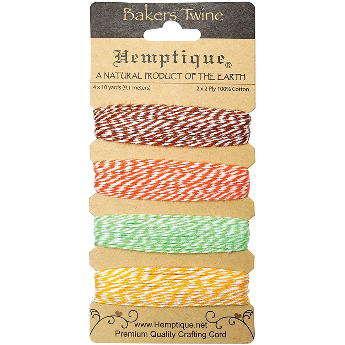 Hemptique BTC2-PIN Cotton Bakers 2-Ply Twine Card Set, Pineapple, 120-Feet