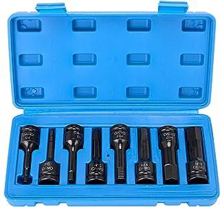 HELAKLS 1/2 Inch Drive Allen Hex Bits Socket Set, Metric 5-19MM 8-Piece Cr-Mo One-Piece Construction Air Impact Socket Han...